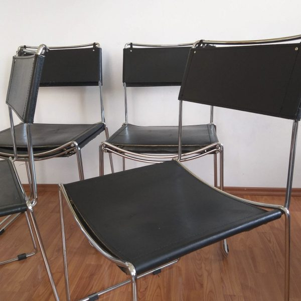 1 of 6 Chrome and Leather Dining Chairs, Italian Dining Chairs, Giandomenico Belotti for Alias, Italy, 80s