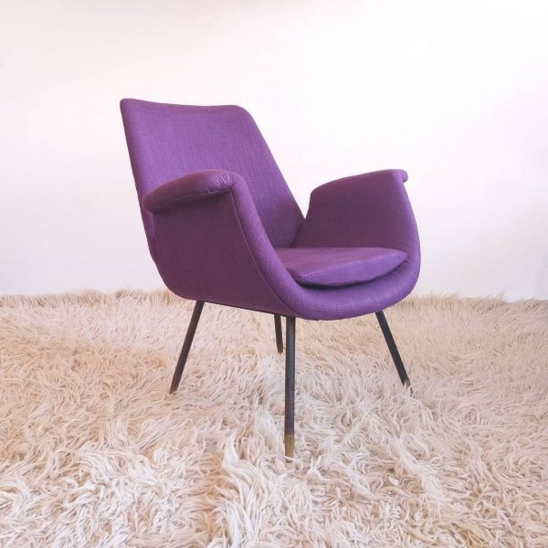 Vintage Italian Lounge Chair, Gastone Rinaldi Design, 50s