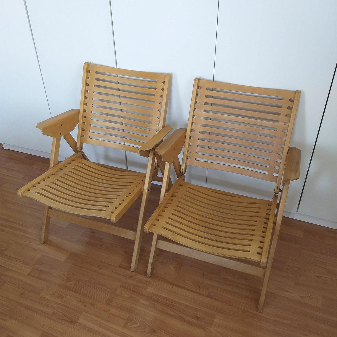 1 of 2 Vintage Rex Chair, Folding Chair, Vintage Easy Chair, Niko Kralj Design, Yugoslavia_