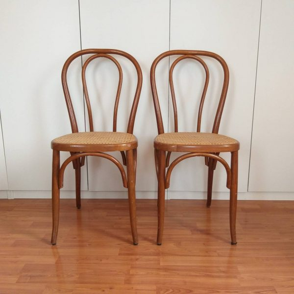 Pair Of Thonet Style Dining Chairs, Thonet n14 Chairs, Cane Dining Chairs, 80s