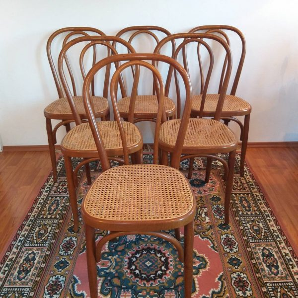 1 Of 6 Thonet Style Dining Chairs, Thonet n14 Chairs, Cane Dining Chairs, 80s