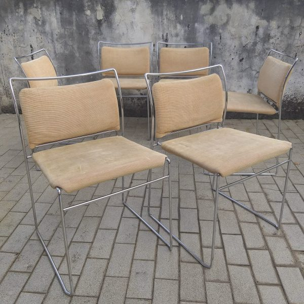 Set of 6 Vintage TULU Chairs by Kazuhide Takahama for Gavina, Chrome and Velvet Dining Chairs, Italy 70s