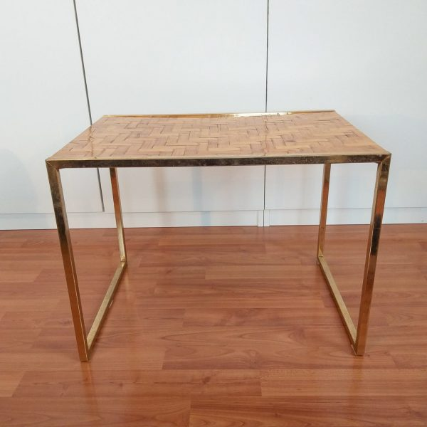 Mid Century Brass Coffe Table, Parquet Display Side Table, Italy, 70s