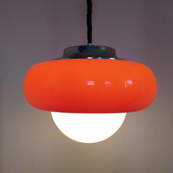 Vintage Guzzini Pendant Lamp, Space Age Ceiling Light, Orange Retro Lamp, 70s