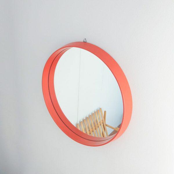 Vintage Wood Mirror, Mid Century Modern Wood Mirror, Orange Mirror, 70s