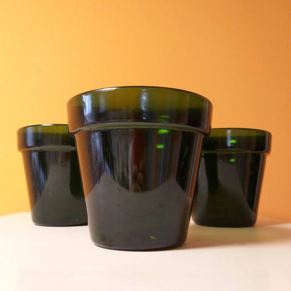 1 of 4 Vintage Orchid Pots, Green Glass Orchid Vase, Aldo Franco Design, Italy 80s
