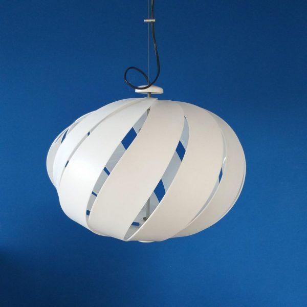Large Mid Century Modern Pendant Lamp, Alicante Lamp, Design Carlo Ponzio, Meblo Guzzini, White Lamp, 1970s