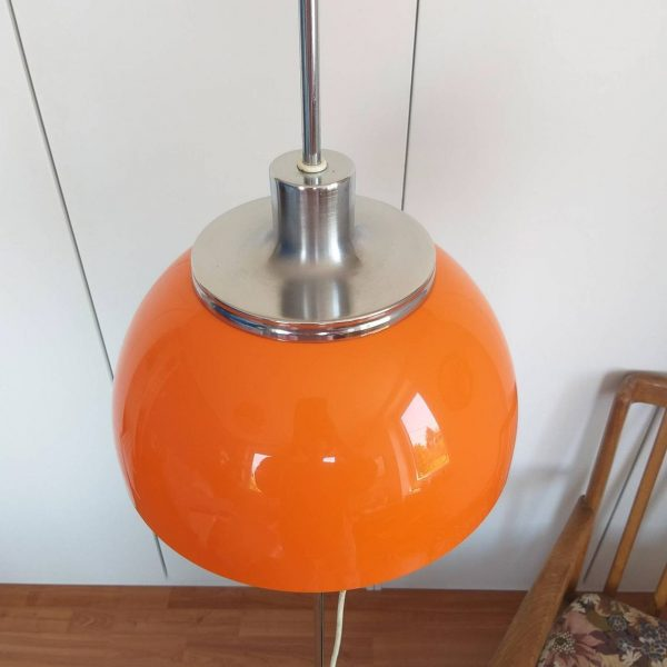 "Mid Century Rare Adjustable Orange Floor Lamp, Vintage Floor Lamp, Retro Lighting, Model ""Faro"" Design by Harvey Guzzini, Italy, 70s"