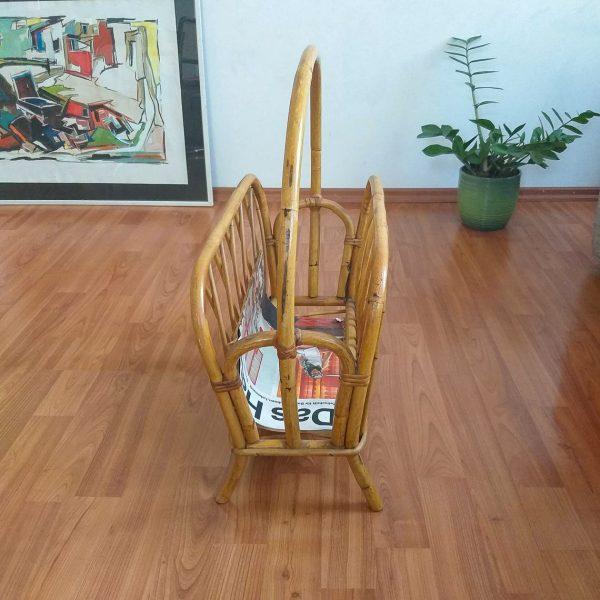 Vintage Bamboo Magazine Rack, Magazine Storage, Newspaper Basket, Record Holder, Home Decor, Italy 70s