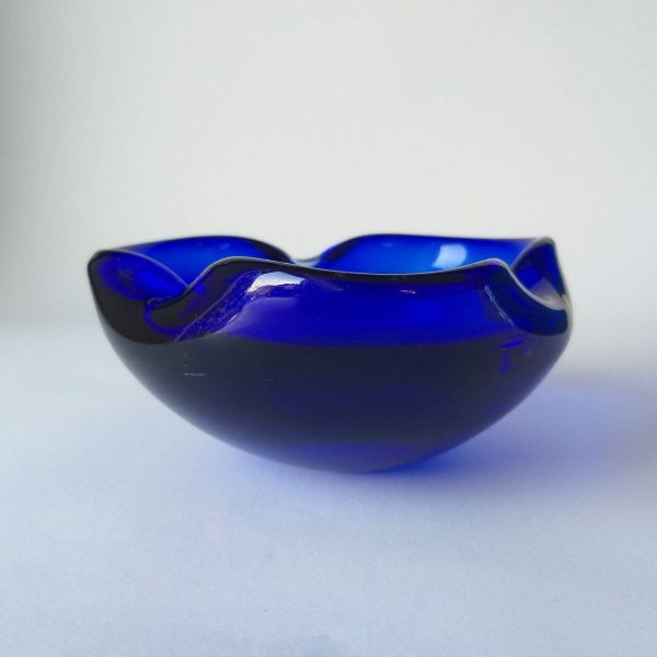 Vintage Glass Ashtray, Murano Glass Decor, Blue Glass, Mid Century Glass, 60s