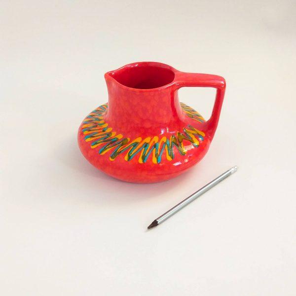 Mid Century Italian Bertoncello Ceramic Vase, Red Ceramic Vase, Hand Painted Vase, Retro Vintage Gift, 80s