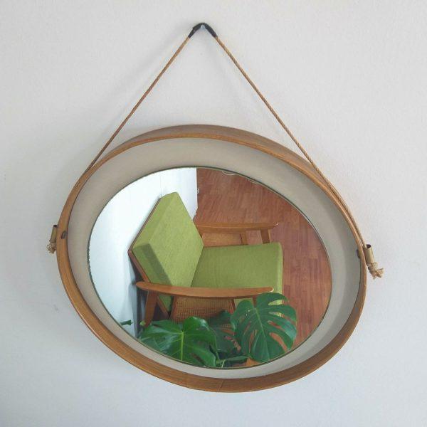 Mid Century Modern Round Mirror, Danish Design Mirror, 60s