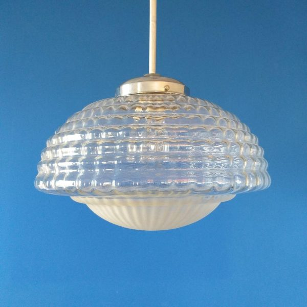 Vintage Pendant Glass Lamp, Rare Italian Glass Lamp, 60s