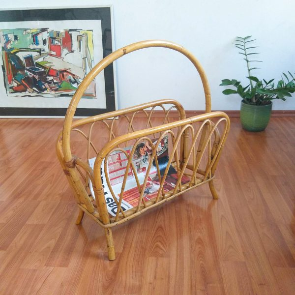 Vintage Bamboo Magazine Rack, Magazine Storage, Newspaper Basket, Record Holder, Home Decor, Italy 70s