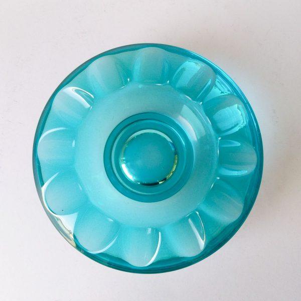 Vintage Blue Glass Ashtray, 60s