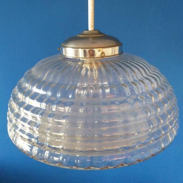 Vintage Pendant Glass Lamp, Rare Italian Glass Lamp, 60s
