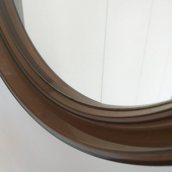 Vintage Plastic Wall Mirror, Mid-Century Round Mirror, French Wall Decor, 70s