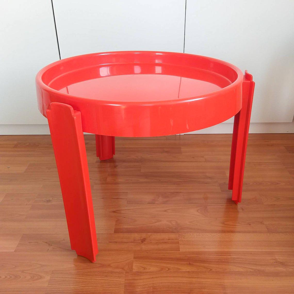 1 of 4 Rare Vintage Plastic Round Table, Mid Century Orange Table, Italian Design, Dal Vera, Space Age, Coffe Table, Italy 70s