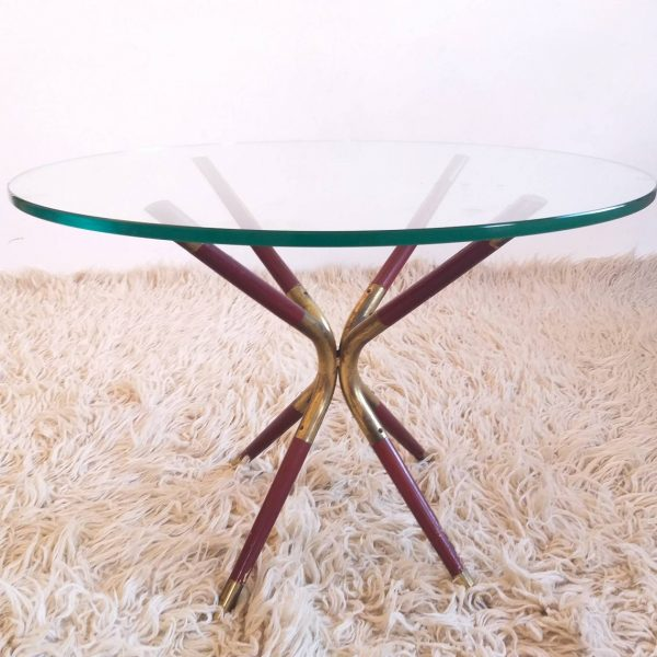 Vintage Coffee Table by Cesare Lacca, Glass Coffee Table, Italy 50s