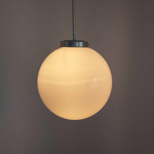 1 of 5 Vintage Glass Globe Pendant Lamps, Milk Glass Globe Light, Heigh Ceiling Pendant Lamp, 60s