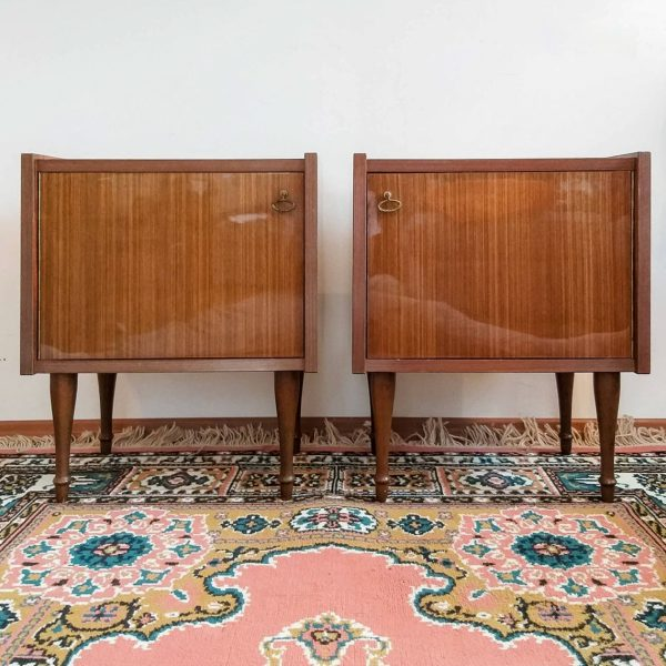 Pair Of Vintage Nightstands, Mid Century Modern Bedside Tables, Italian 60s Nightstands