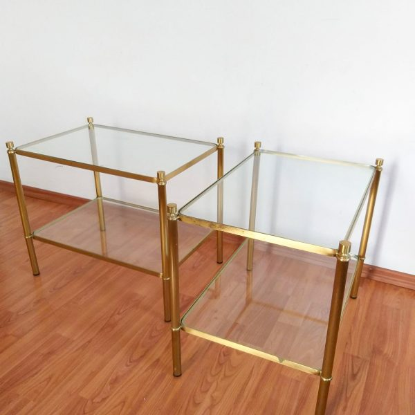 Set of 2 Glass and Brass Italian Coffee Tables, Hollywood Regency Style Side Tables, Vintage Glass Nightstands