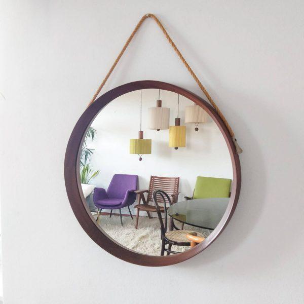 Vintage Scandinavian Wood And Rope Mirror, Mid Century Modern Wood Mirror, 60s