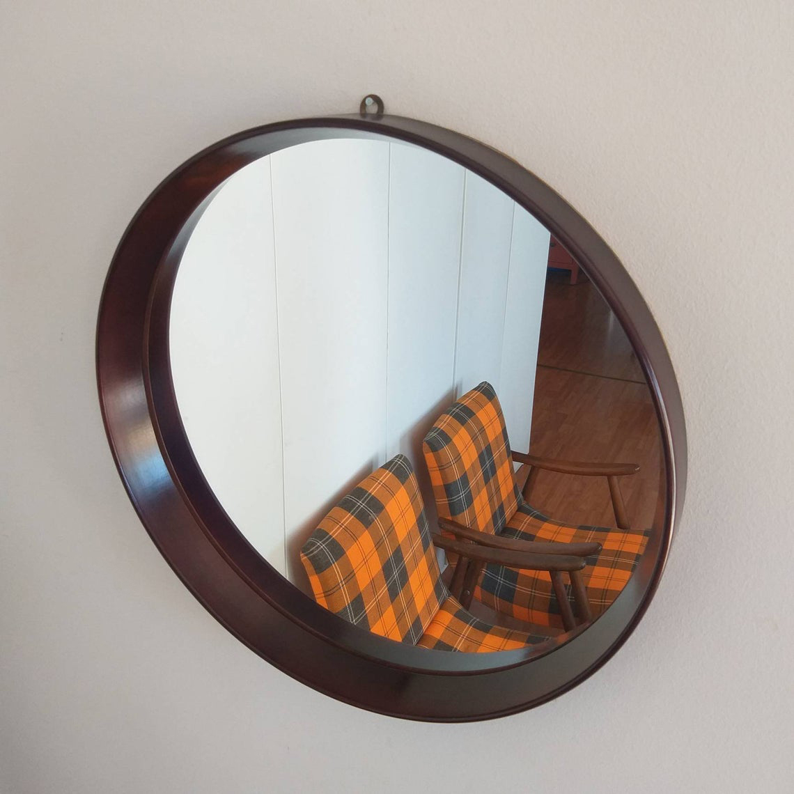 Vintage Scandinavian Teak Mirror, Mid Century Modern Wood Mirror, 60s