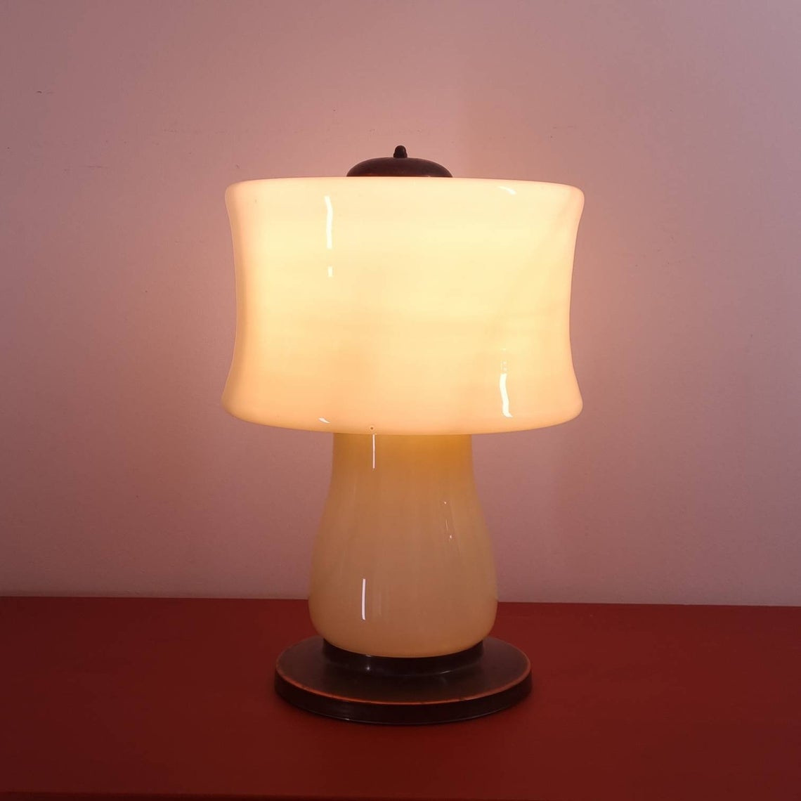Mid Century Glass Table Lamp, Rare Glass And Brass Table Light, Yugoslavia, 70s