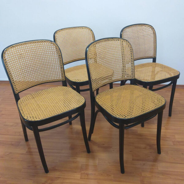 Set of 4 Cane Bentwood Chairs, Josef Hofmann Prague Chairs, N.811 Chair, Italy 80s