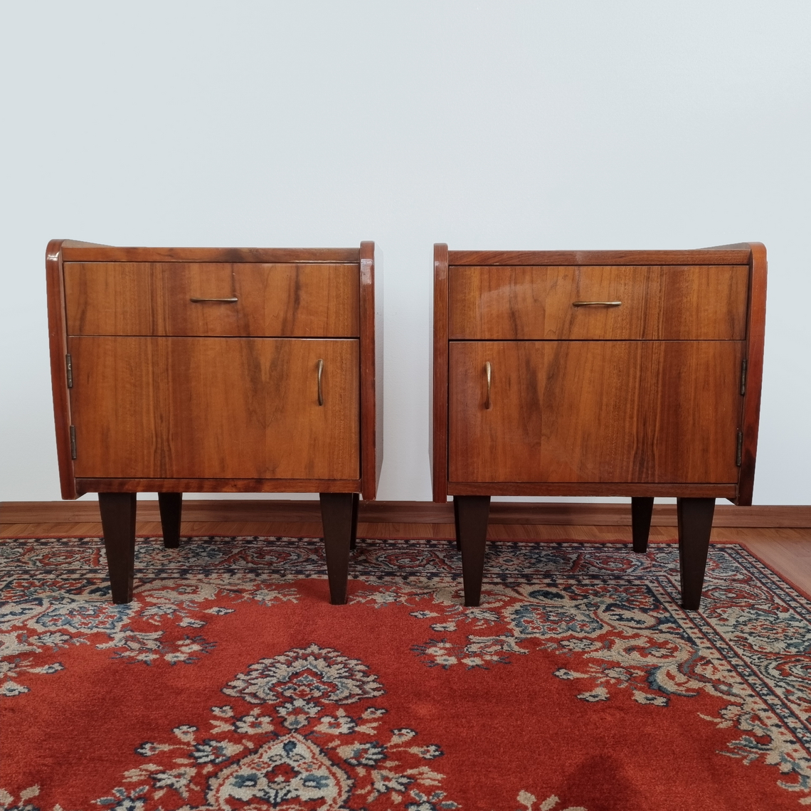 Pair Of Midcentury Modern Nightstands, Vintage Bedside Tables, Yugoslavia 60s