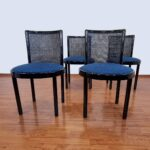 Set Of 4 Italian Dinning Chairs, Laquered Wood and Cane Chairs, Black Dinning Chairs, 80s