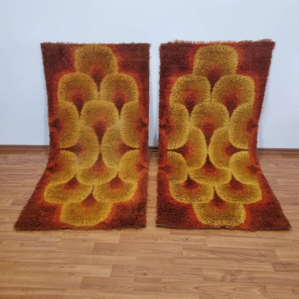 Pair Of Vintage Op Art Rugs, Verner Panton Style, Space Age Rugs, Italy 70s