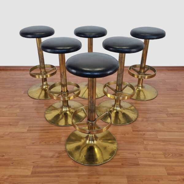 1 of 6 Vintage Metal And Leather Bar Stools, Yugoslavia 80s