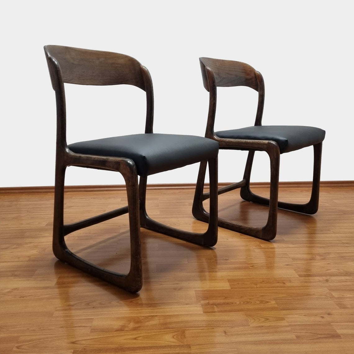 Pair Of Trineau Dinning Chairs, Black Eco Leather Baumann Chairs, France 60s