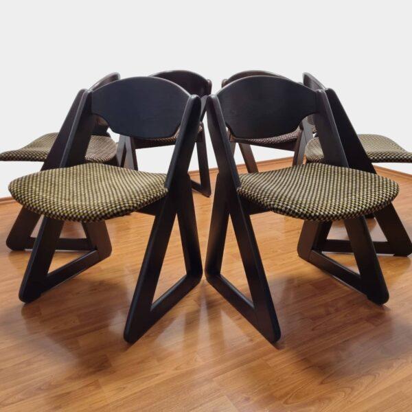 Set of 6 Italian Dinning Chairs, Wood & Velvet Dinning Chairs, Italian Design, 80s