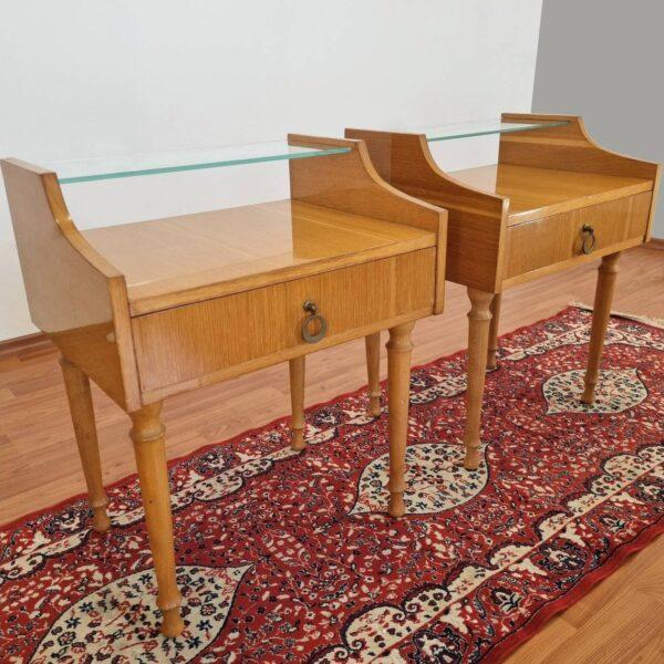Pair Of Midcentury Modern Nightstands, Vintage Bedside Tables, Italy 60s