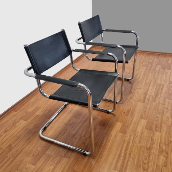 Pair Of S34 Cantilever Chairs, Mart Stam Leather Chairs, Bauhaus 1926 Chairs, Italy 80s