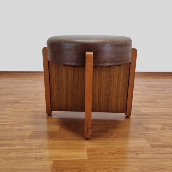 Mid Century Leather Pouf, Italian Design, 80s