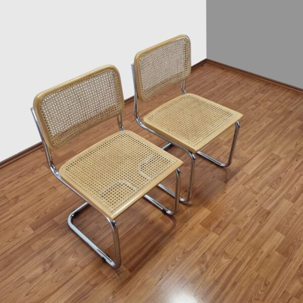 Pair Of Mid Century Modern Marcel Breuer Cesca Chairs, Italy, 90s
