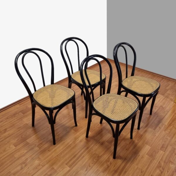 Set Of 4 Thonet Style Dining Chairs, Thonet n14 Chairs, Cane Dining Chairs, 80s