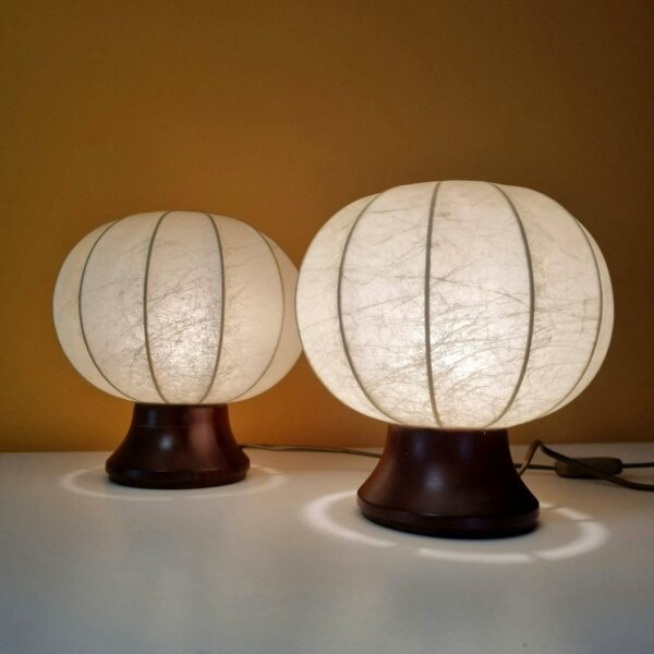 Pair of Vintage Night Lamps, Bedside Cocoon Lamps, Table Lamps, 80s