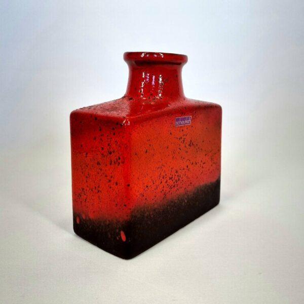 West German Scheurich fire red ceramic vase.
