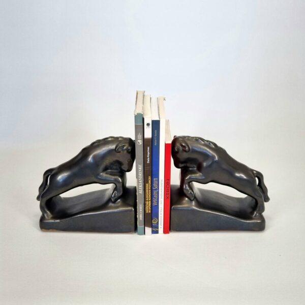 Art Deco Glazed Ceramic Bookends, Bull Sculptures, Yugoslavia, 30s